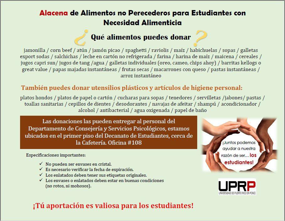 DONACIÓN DE ALIMENTOS NO PERECEDEROS ALACENA CONSEP