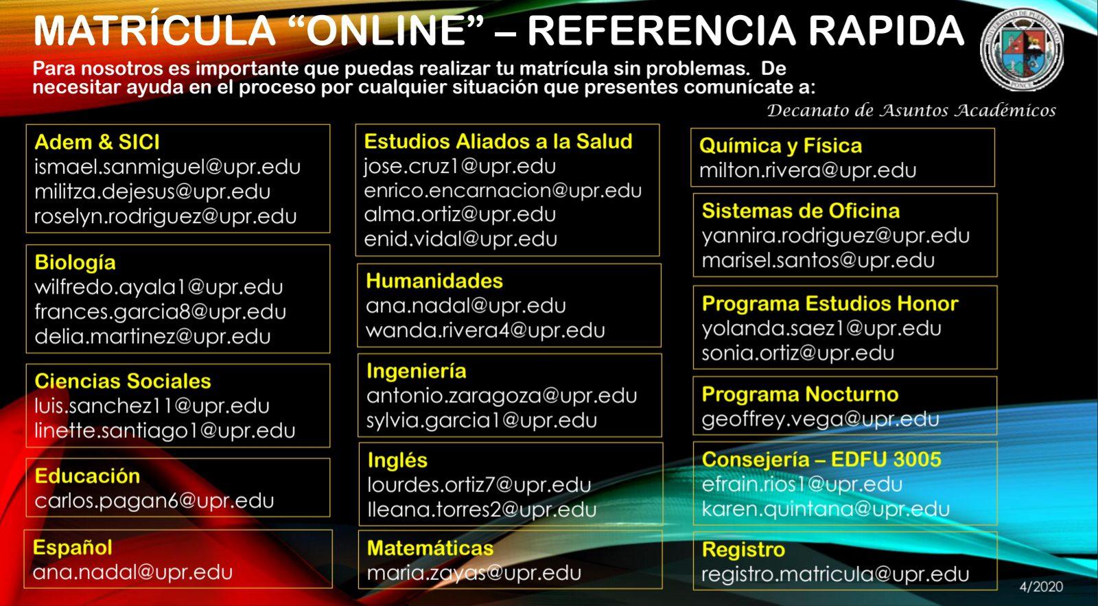 referencia rapida matricula online