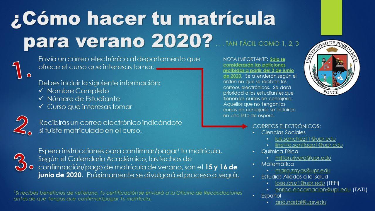 Proceso de Matricula para el Verano 2020