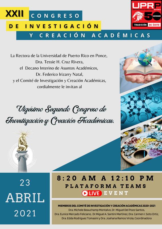 AFICHE OFICIAL XXII CONGRESO INVESTIGACION Y CREACION ACADEMICAS